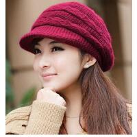 女冬季 韩版 潮可爱 帽子 毛线帽兔毛针织帽秋冬天女士帽子