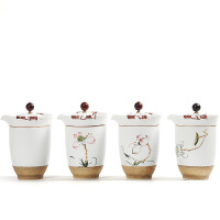 汉馨堂 茶杯 便携式手绘旅行功夫茶具一壶两杯陶瓷套装