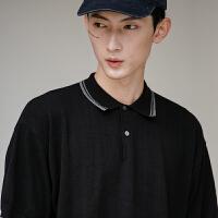 日系简约纯色宽松版针织POLO衫男款短袖T恤TEE上班商务