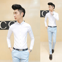 新款春秋男士衬衫韩版修身型青年男款白色青少年学生黑衬衣长袖英