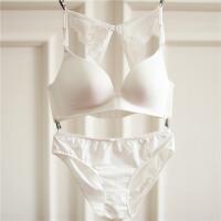 无钢圈文胸套装无痕一片式薄款露背性感Y型少女蕾丝美背内衣夏季 32/70A+S内裤 套装