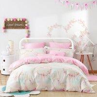 【满299减100】水星家纺床单四件套卡通粉色花卉图案被套女生双人床上用品花悸