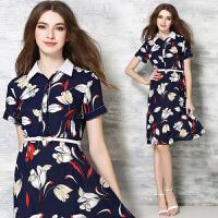 欧美女装新款中长款大摆印花雪纺连衣裙夏中长款收腰显瘦裙子