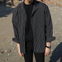 2018春季新款小清新条纹丝滑薄长袖衬衫潮流帅气韩版男士休闲衬衣