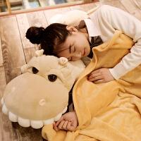 创意河马公仔毛绒玩具大号玩偶睡觉抱枕两用空调毯二合一午睡枕头