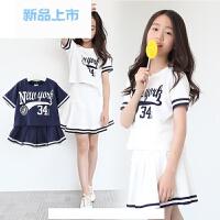 女童纯棉运动套装夏季新款韩版童装子装中大童短袖裙裤两件套