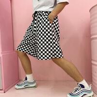 韩国INS同款复古黑白棋盘格子运动短裤 男女款