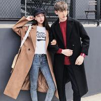 新款秋冬装纯色中长款男女毛呢大衣韩版修身休闲呢子风衣情侣外套