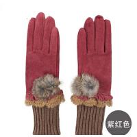 秋冬时尚女士可爱手套手套冬季保暖手套 女士皮手套
