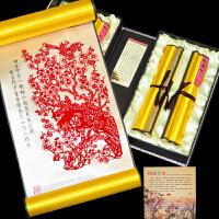 剪纸 丝绸剪纸画 装饰画年货窗花中国风礼物外事礼品民间工艺品