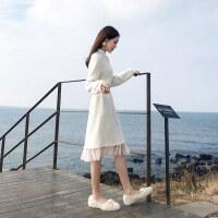 配大衣的长裙子针织毛衣裙过膝中长款休闲打底裙连衣裙女秋冬 白色