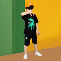 2021新款夏季套装男童短袖中大童两件套T恤短裤休闲帅气潮