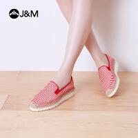 jm快乐玛丽帆布鞋夏季松糕厚底条纹舒适增高套脚休闲女鞋子52016W
