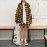 2018春装韩版宽松格子中长款开衫衬衣百搭bf风长袖衬衫上衣外套女