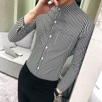 新品18春季新款男士韩版修身小格子长袖衬衫潮流青年男式立领休闲
