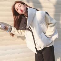 白色马甲女短款韩版BF宽松无帽冬季原宿撞色加厚背心学生外套