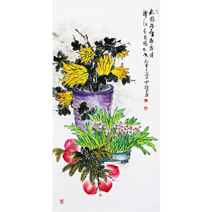 冯云龙《松鹤福寿永康健》著名画家 有作者本人授权 带收藏证书