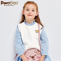 【秒杀价:92】Pawinpaw卡通小熊童装女童纯色针织衫小背心套头坎肩