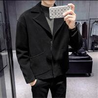 风衣男短款2018秋冬新款韩版潮流帅气毛呢大衣男士英伦风呢子外套