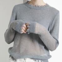 灰蓝色毛衣女薄款秋年拼接上衣宽松圆领羊毛针织衫 灰蓝色