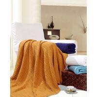 富安娜家纺 纯色针织棉家居盖毯纯棉亲肤毯150*180cm