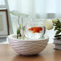家居创意桌面鱼缸鱼池流水摆件陶瓷喷泉装饰品办公室客厅开业礼品