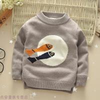冬季秋冬装儿童装男童加绒外套头毛衣宝宝长袖羊绒圆领加厚针织衫秋冬新款