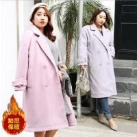 2018春装新款大码女装胖mm加肥加大码中长款加厚保暖韩版毛呢大衣