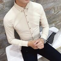 新款男秋季衬衣衬衣男士长袖衬衫潮青年休闲男装卡其色韩版烫