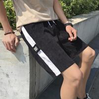 港风夏季风休闲五分裤男士宽松复古运动短裤拼色哈伦中裤时尚