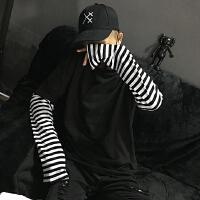 韩国GD权志龙同款拼接假两件套头长袖T恤韩版条纹卫衣男女情侣装