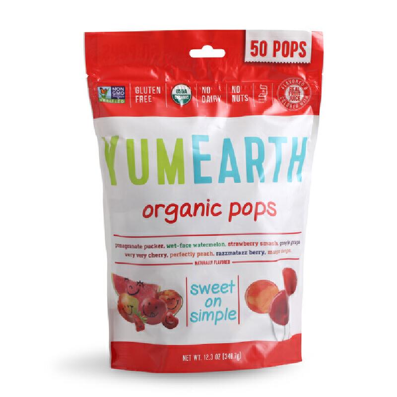 美国Yummy Earth牙米滋天然水果棒棒糖儿童孕妇零食进口50支