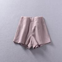 L@7 2018秋冬新韩版女装纯色高腰时尚毛呢直筒短裤YQ