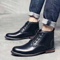 DAZED CONFUSED皮鞋男尖头木跟潮流高帮男士皮鞋休闲低跟鞋日常高帮理发师皮面短靴