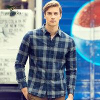 七匹狼长袖衬衫 2017新款中青年男士格子磨毛衬衣男装【加绒】