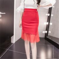 春夏新款包臀半身裙高腰大码弹力性感透视网纱拼接修身显瘦一步裙