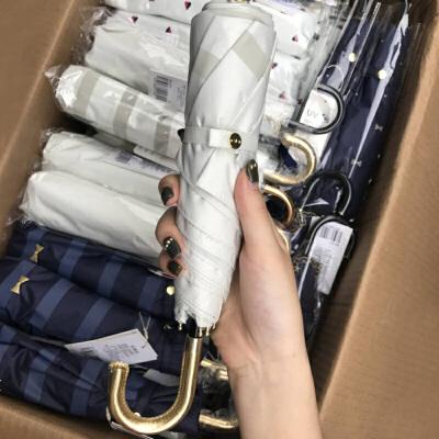 WPC彩胶小清新晴雨伞太阳伞防晒轻小防紫外线女 五折叠口袋手机伞