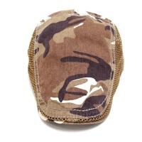 夏季迷彩贝雷帽男士户外透气网格遮阳帽中年薄款鸭舌帽防晒太阳帽 可调节
