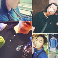新款韩国原宿饮料刺绣小标短袖polo衫夏热清凉蓝色半袖男女情侣衫