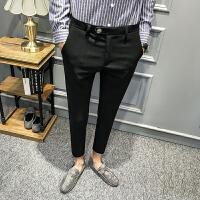 新款英伦风男士韩版修身小脚休闲裤男裤子长裤秋款个性潮流发型师
