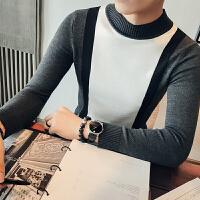 秋装新款半高领修身黑白拼色男士针织衫韩版青年打底衫男毛线衣