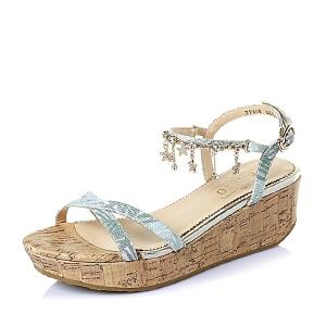【鞋靴超级品类日】BASTO/百思图夏季专柜同款布面女凉鞋TF608BL6