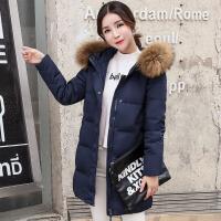 2017冬季新款貉子毛羽绒服女中长款韩版修身连帽羽绒服外套