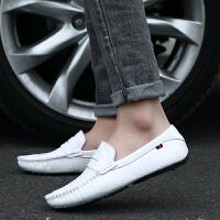 CUM 潮牌男士豆豆鞋男鞋懒人鞋白色休闲皮鞋开车鞋驾车鞋子潮乐福鞋