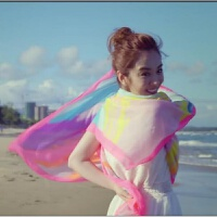 新款我的体育老师王小米王晓晨海滩度假丝巾防晒丝巾围巾披肩 彩色