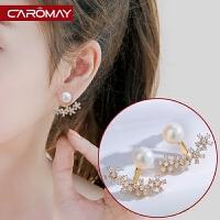 925银针淑女小花朵耳环 淡水珍珠耳钉清新简约前后戴耳坠耳饰