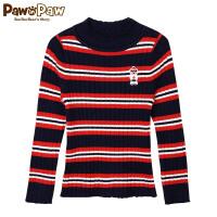 【3件4折 到手价:183】Pawinpaw卡通小熊童装冬男童撞色条纹长袖毛衣针织套衫