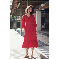 早春季泰国巴厘岛复古蕾丝钩花海滩裙女夏新款雪纺连衣裙显瘦红色长裙礼服裙海边度假沙滩裙