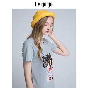 【清仓3折价107.7】Lagogo/拉谷谷2019年夏季新款时尚圆领印花短袖连衣裙HALL355F49