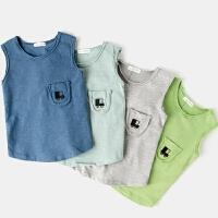 儿童背心婴儿汗衫夏季男童打底内衣无袖圆领薄款宝宝上衣夏装
